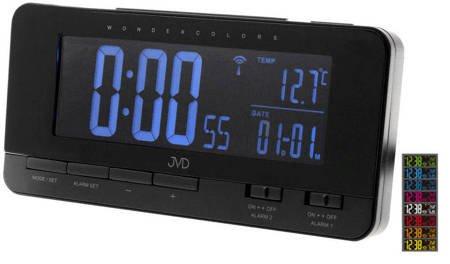Budzik JVD RB9350.1 Termometr DCF77 Dwa Alarmy 34 kolory