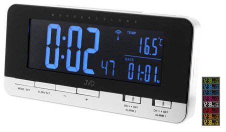 Budzik JVD RB9350.2 Termometr DCF77 Dwa Alarmy 34 kolory