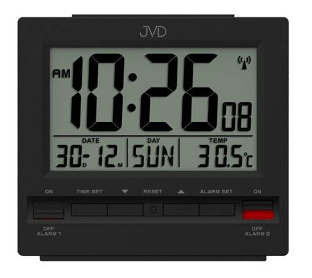 Budzik JVD RB9371.2 Termometr, dwa alarmy, DCF77
