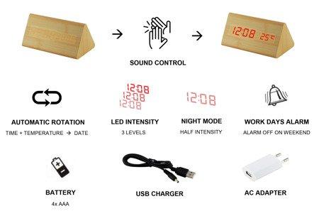 Budzik MPM C02.3570.50 red led, termometr, 3 alarmy