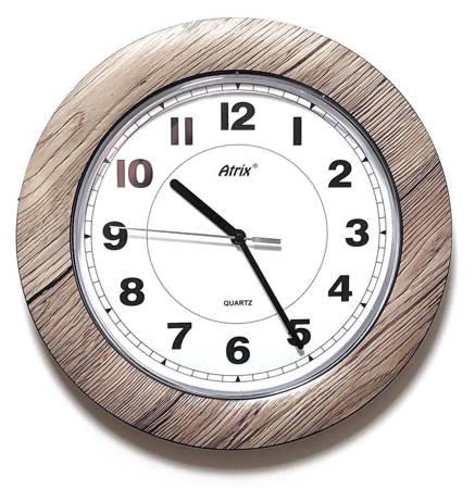 Drewnopodobny zegar ścienny Atrix T1217R cichy 27 cm