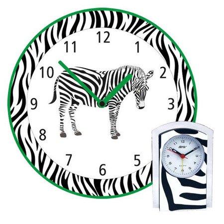 Dziecięcy zegar ścienny i budzik z motywem zebry KOMPL-Z2